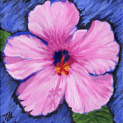 Hawaii Hibiscus Wall Art, Original Floral Painting, 6x6\