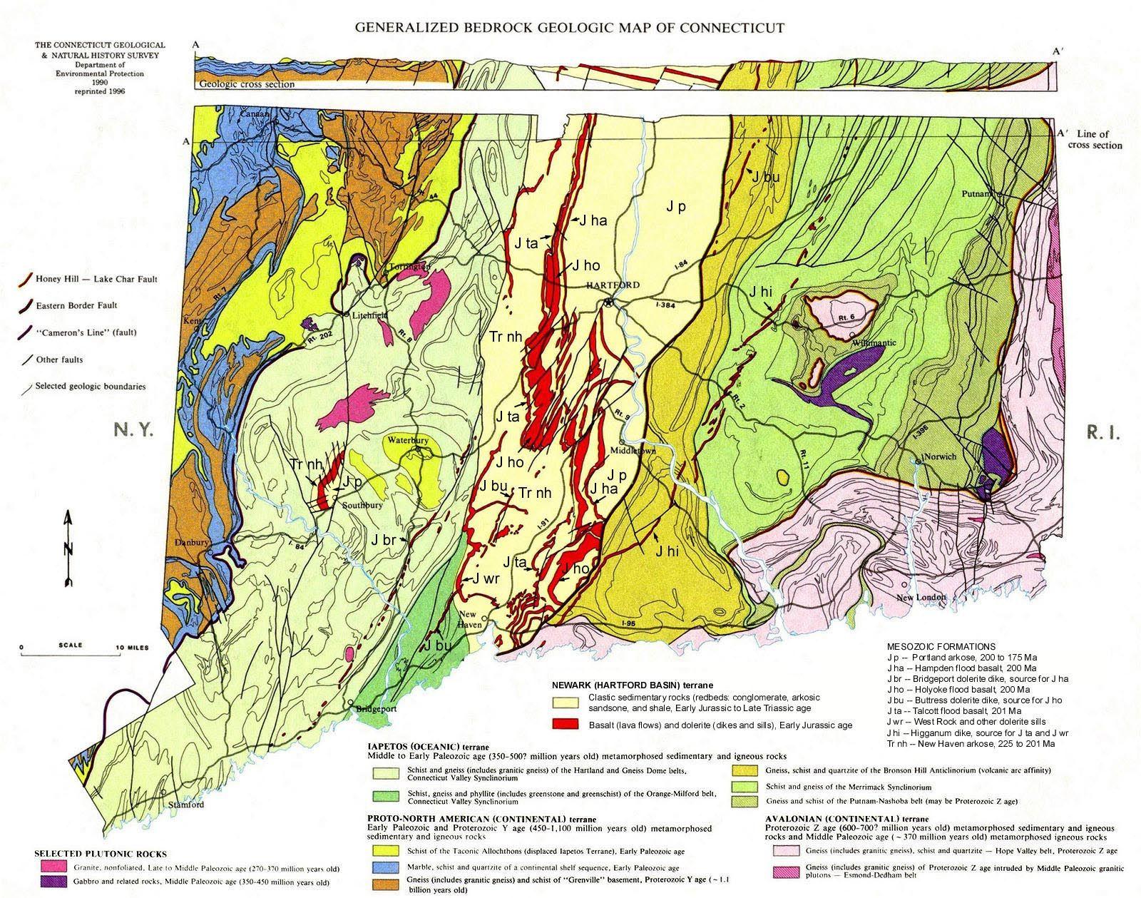 bedrock geologic map of connecticut Connecticut Geologic Map Connecticut Map Connecticut Geology bedrock geologic map of connecticut