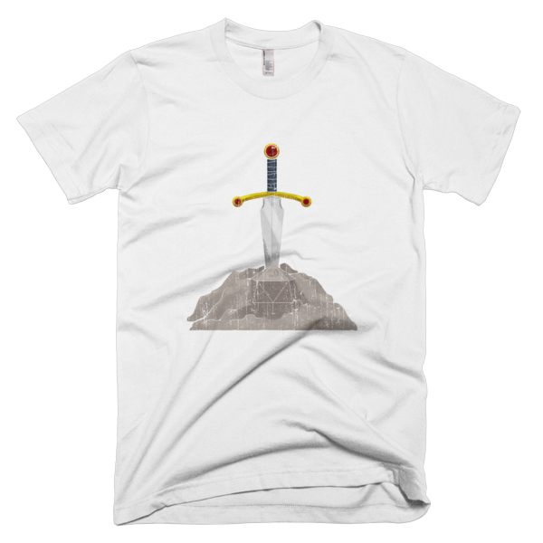 Distressed Sword in the Stone American Apparel Slim Fit Men's T-Shirt