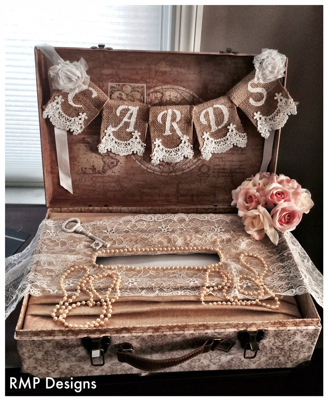 A personal favorite from my Etsy shop https://www.etsy.com/listing/192534175/cards-burlap-lace-banner-wedding-decor