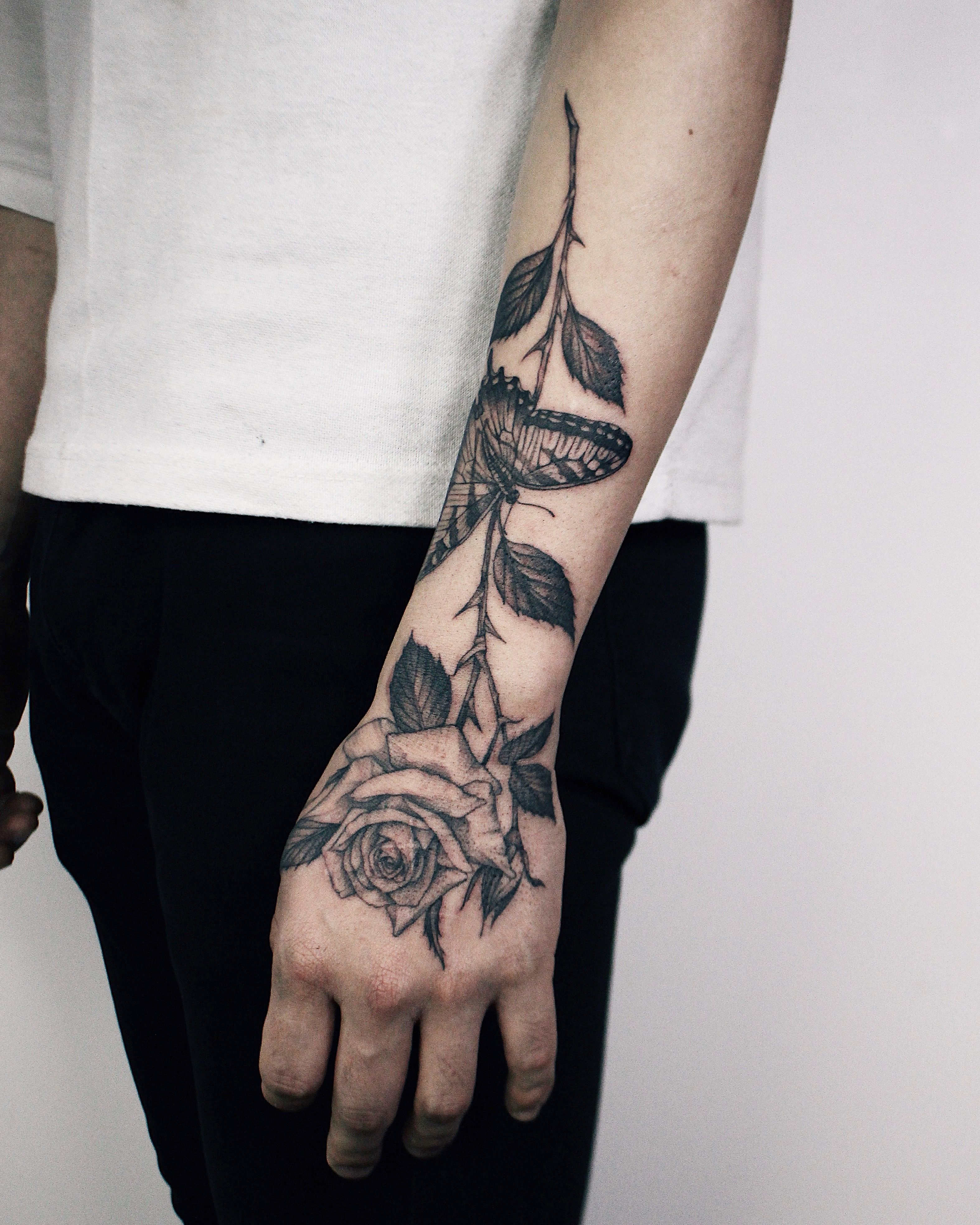 Pin By Meagan Castleberry On Tattoo Rose And Butterfly Tattoo Butterfly Hand Tattoo Hand Tattoos