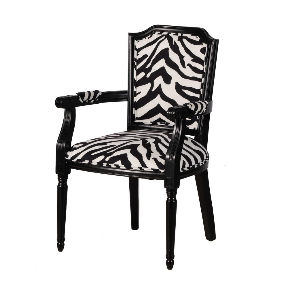 Black and white zebra upholstered arm chair by anthony