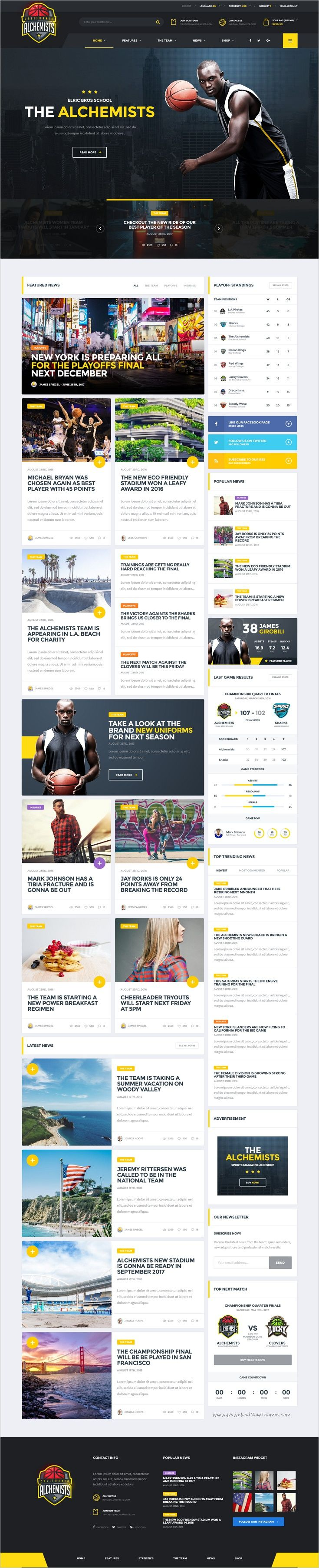 Alchemists - Basketball, Soccer, Football Sports Club and News HTML ...