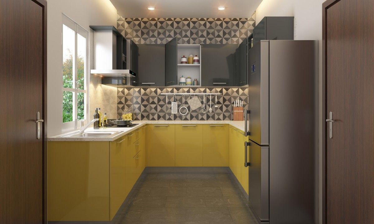 Add a geometric touch to your kitchen. #yellow #modular #kitchen ...
