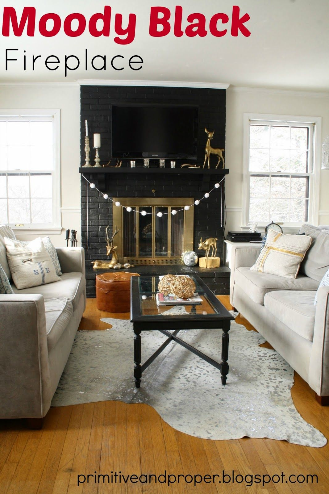 Dramatic lamp black fireplace makeover u cowhide rug from rugs usa