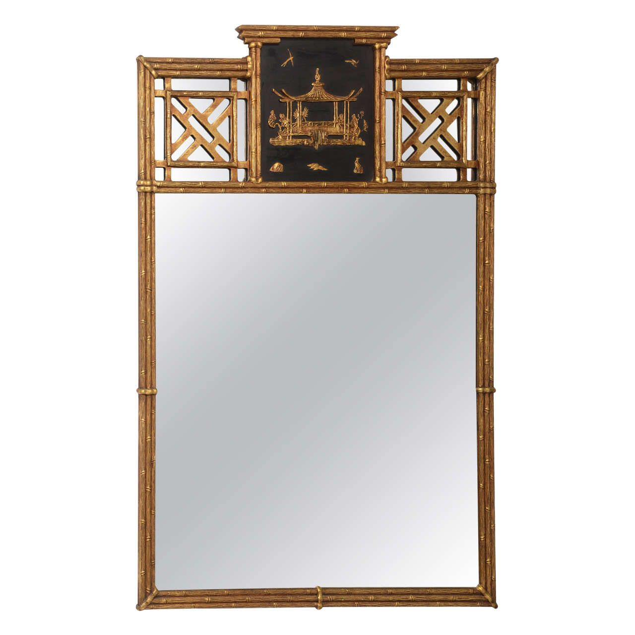 Asian Style Wall Mirrors Hollywood Regency Style Chinese Chippendale Over Mantle