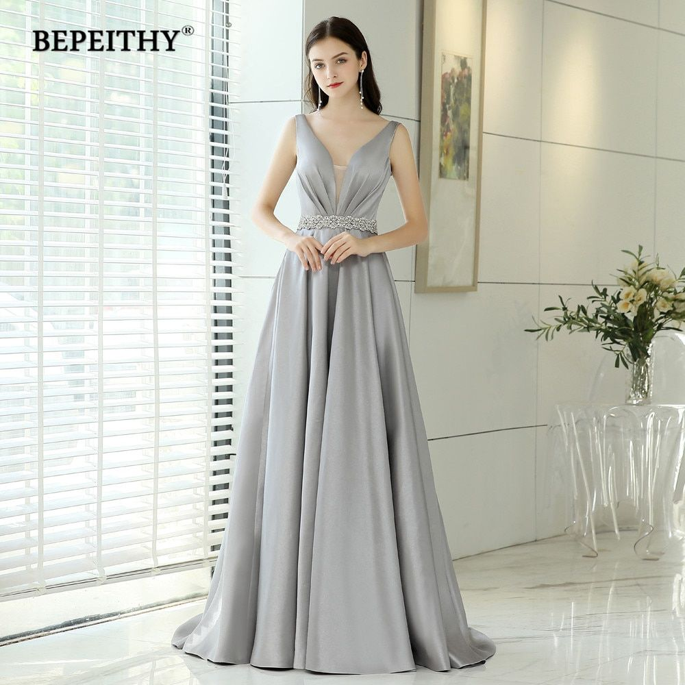 92b007b64da80 Abendkleider Evening Dresses Long With Crystal Belt Vintage V Neck ...