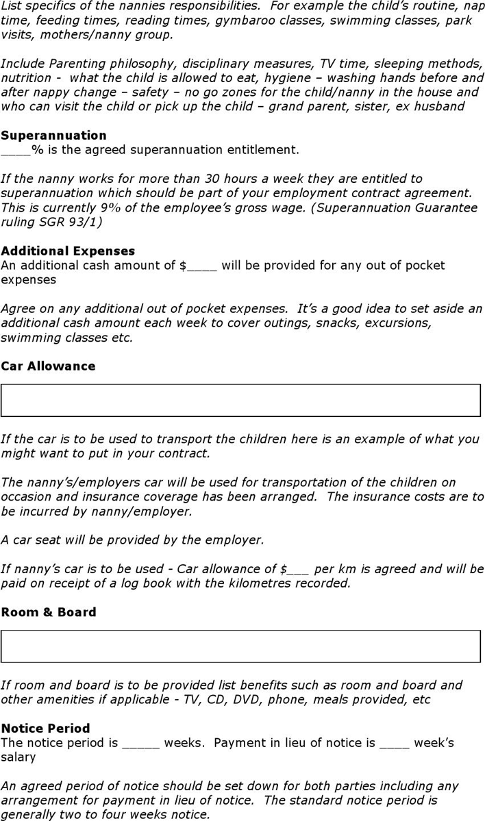 Nanny Employment Contract Nanny Contract Template Nanny Contract Template