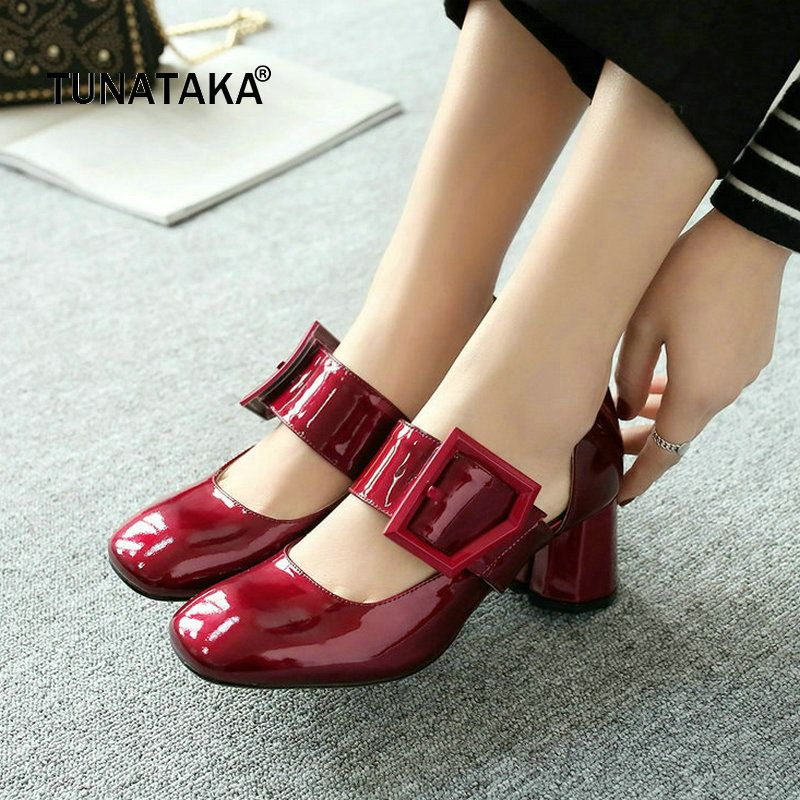 be78c8e9a569 Genuine Leather Comfort Thick Heel Square Toe Woman Pumps Fashion Buckle  Dress High Heel Shoes Woman