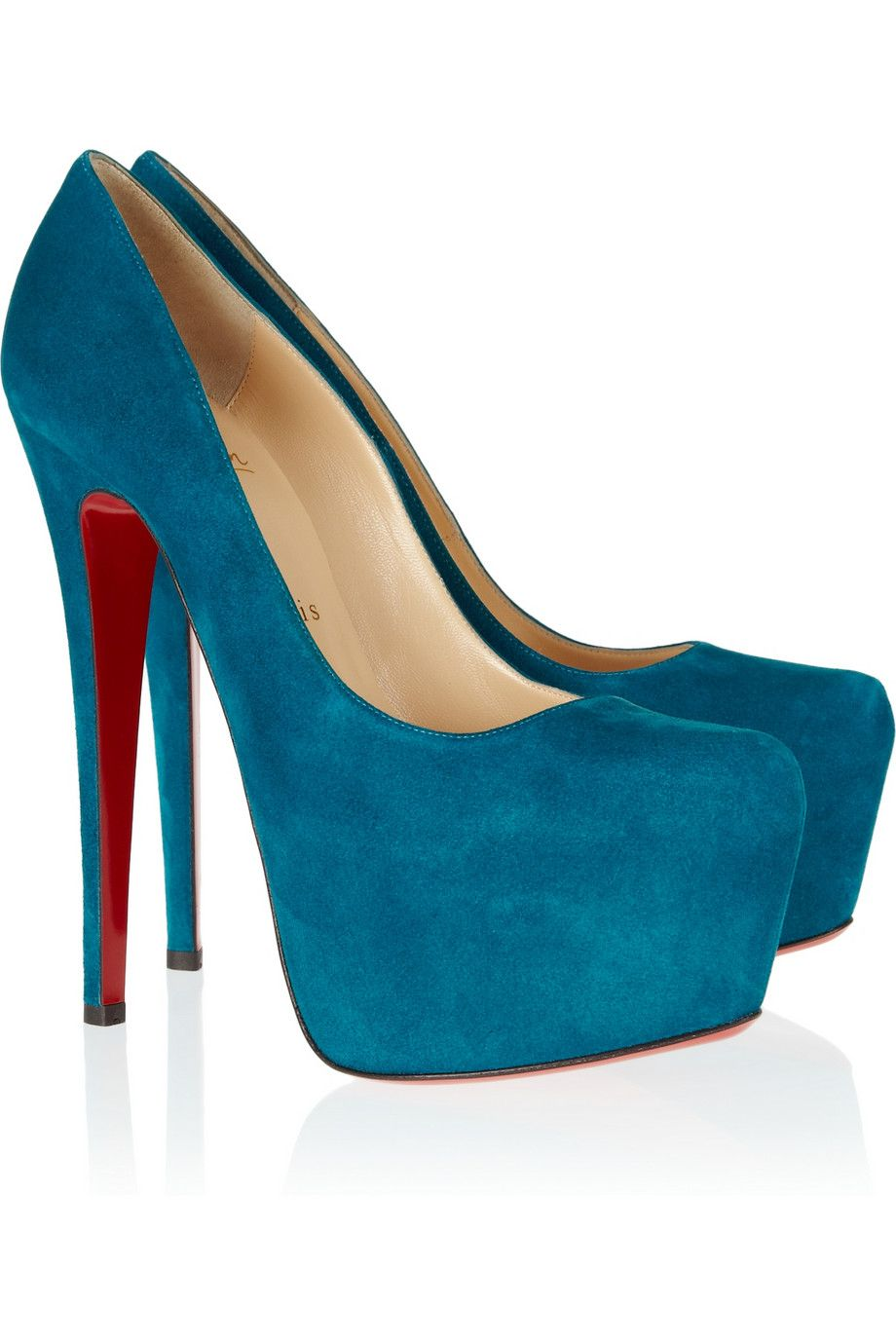 christian louboutin daffodile turquoise suede pumps