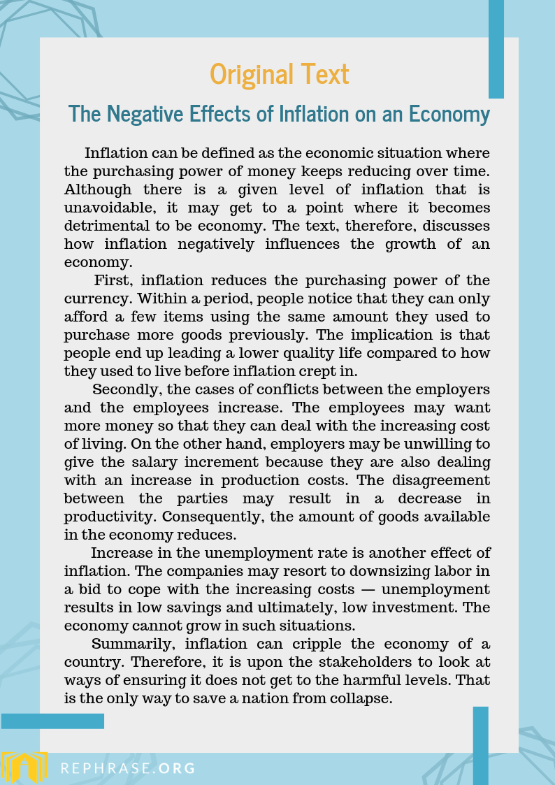 Rephrase Sentence Sample Generation Effect Of Inflation Paraphrase
