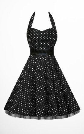 cf0e3df9f5 Black Butterfly New 50 S Black   White Polka Dot Halterneck Retro  Rockabilly Vintage Swing Prom Dress