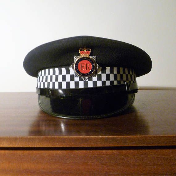 Vintage 1990s Issued Greater Manchester Police Hat Cap With Metal Cap Badge In Great Condition Collectible Police Memo Police Hat Manchester Police Vintage