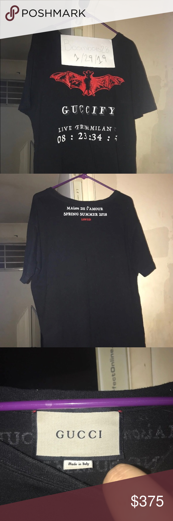 "0b99c96f Gucci ""Live In Milan"" Tee Gucci's ""Guccify Live in Milan"" tee shirt in  black *Tag size is XL but fits more like a large* *WILL SHIP ASAP* Gucci  Shirts Tees ..."