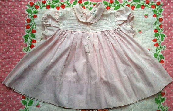 PInk 60s Baby Dress 1218 Months by lishyloo on Etsy, $10.00