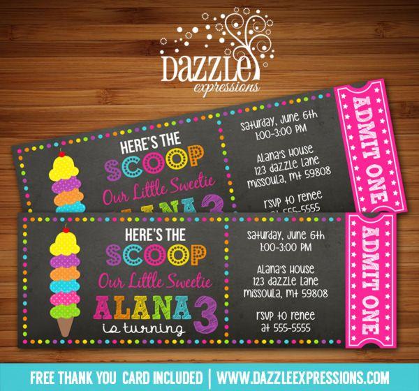 printable chalkboard ice cream ticket birthday invitation