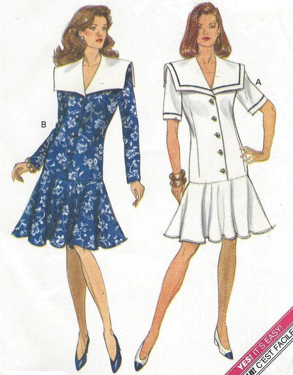 90s Womens Dropped Waist Dress Sailor Collar by CloesCloset