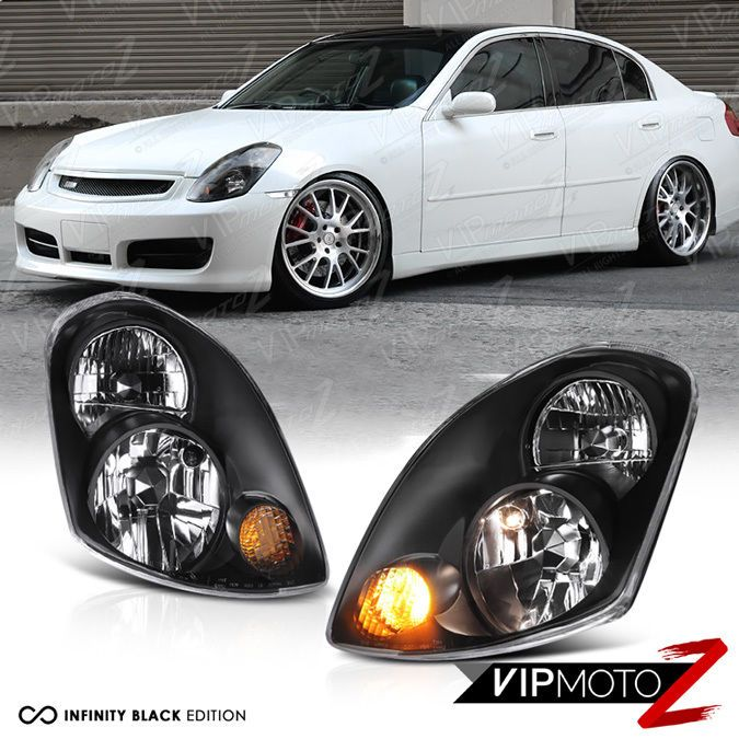 For 2003 2004 Inifiniti G35 Sedan 4d Vq35 Black Jdm Style Headlight Assembly L R Headlight Assembly Sedan Jdm