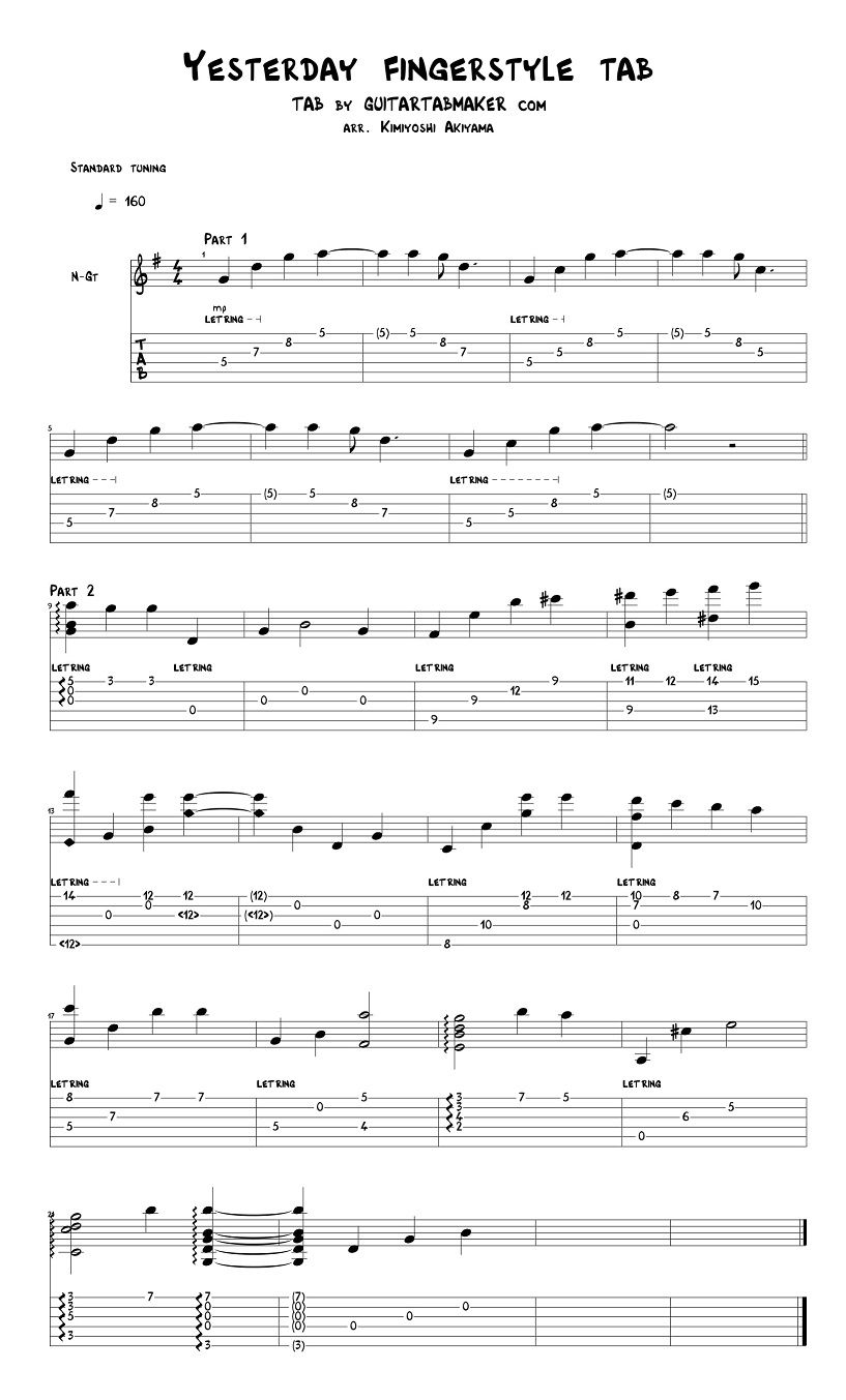 The Beatles - Yesterday fingerstyle guitar tab - pdf ...  Fingerstyle