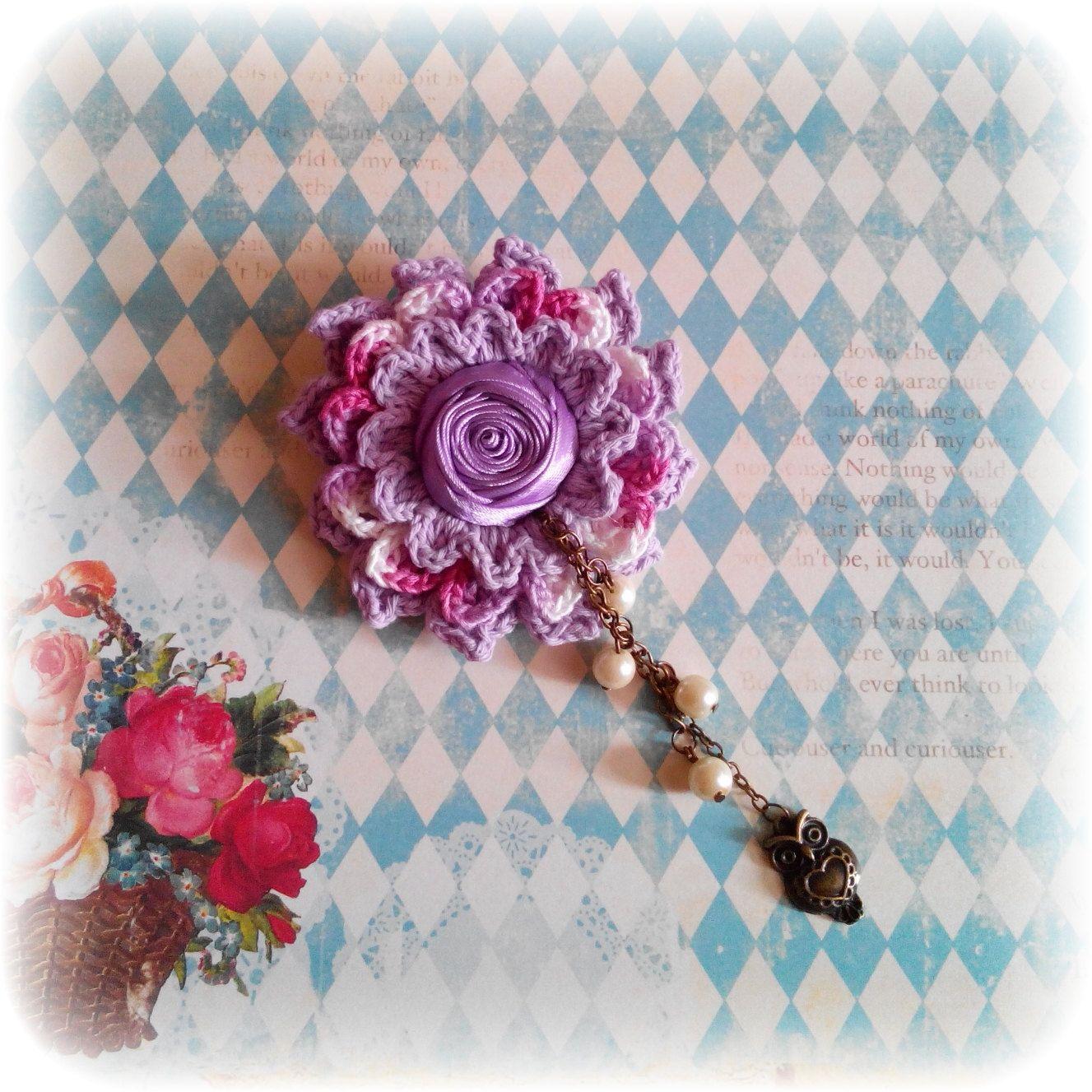 Crochet Flower Brooch Pattern: Arini Brooch (accessories, wedding ...