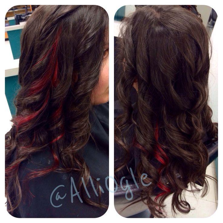 Dark Brown Hair With Red Peekaboos images
