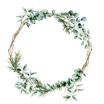 Photo of Watercolor eucalyptus branch wreath. Hand painted eucalyptus branch…