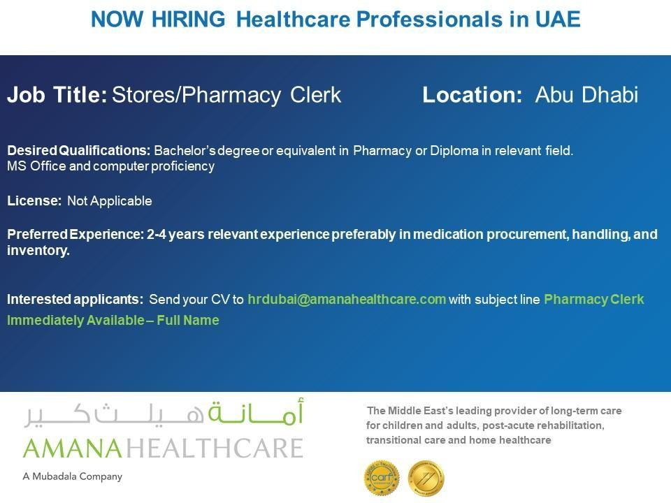 Store Pharmacy Clerk Uae Job Openings Job Opening Job Pharmacy