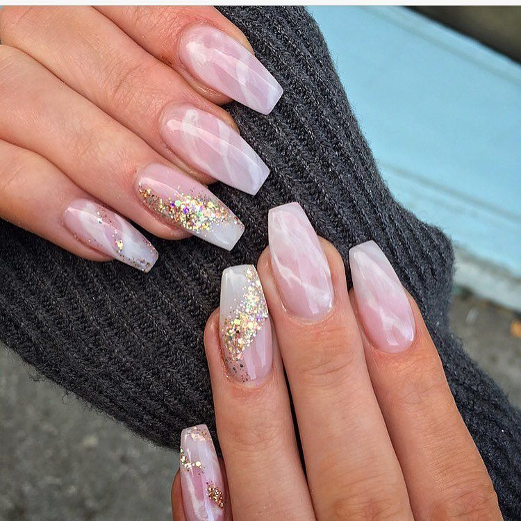 Beautiful Nails On Instagram Pink And White Marble By Powder With A Little Bit Of Touch Of Glitter Allpowder N Pink Clear Nails Pink White Nails Glow Nails