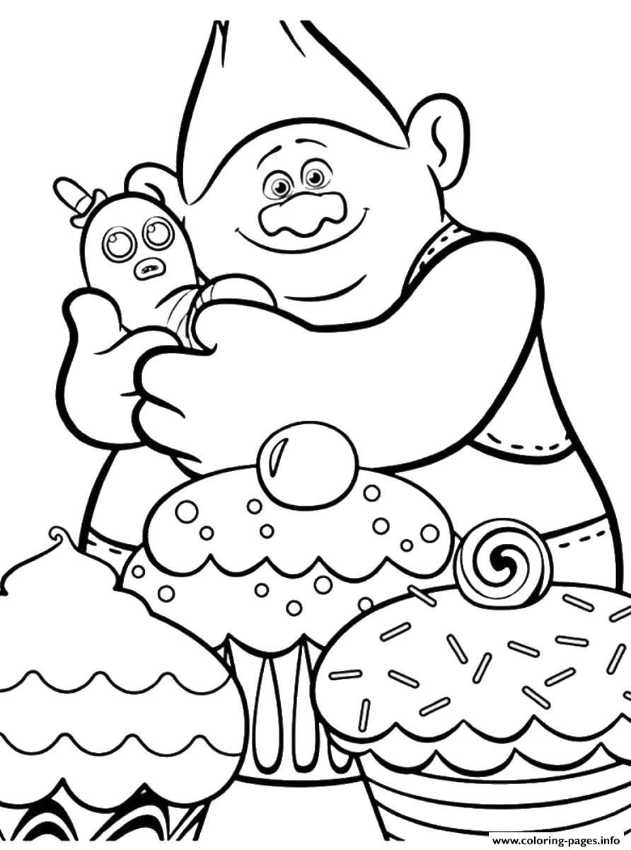 Print trolls movie cupcakes coloring pages | kolorowanki | Pinterest