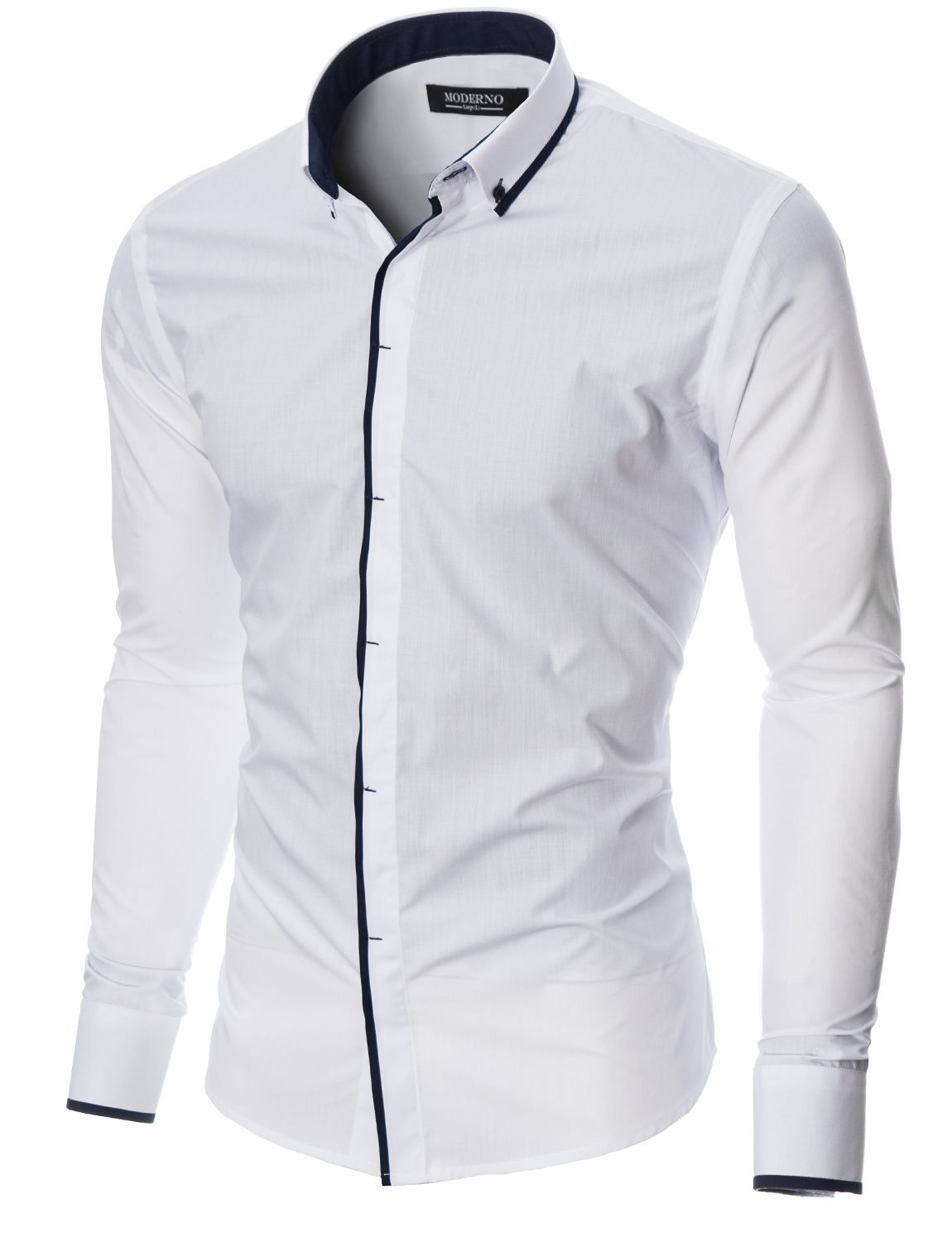 df162dd928c4 MODERNO Slim Fit Mens Casual Button-Down Shirt (MOD1445LS) White ...