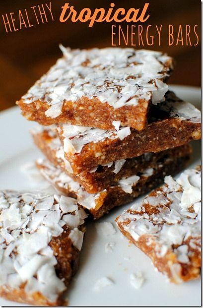 Tropical Energy Bars Recipe Food Energy Bars Healthy Sweets