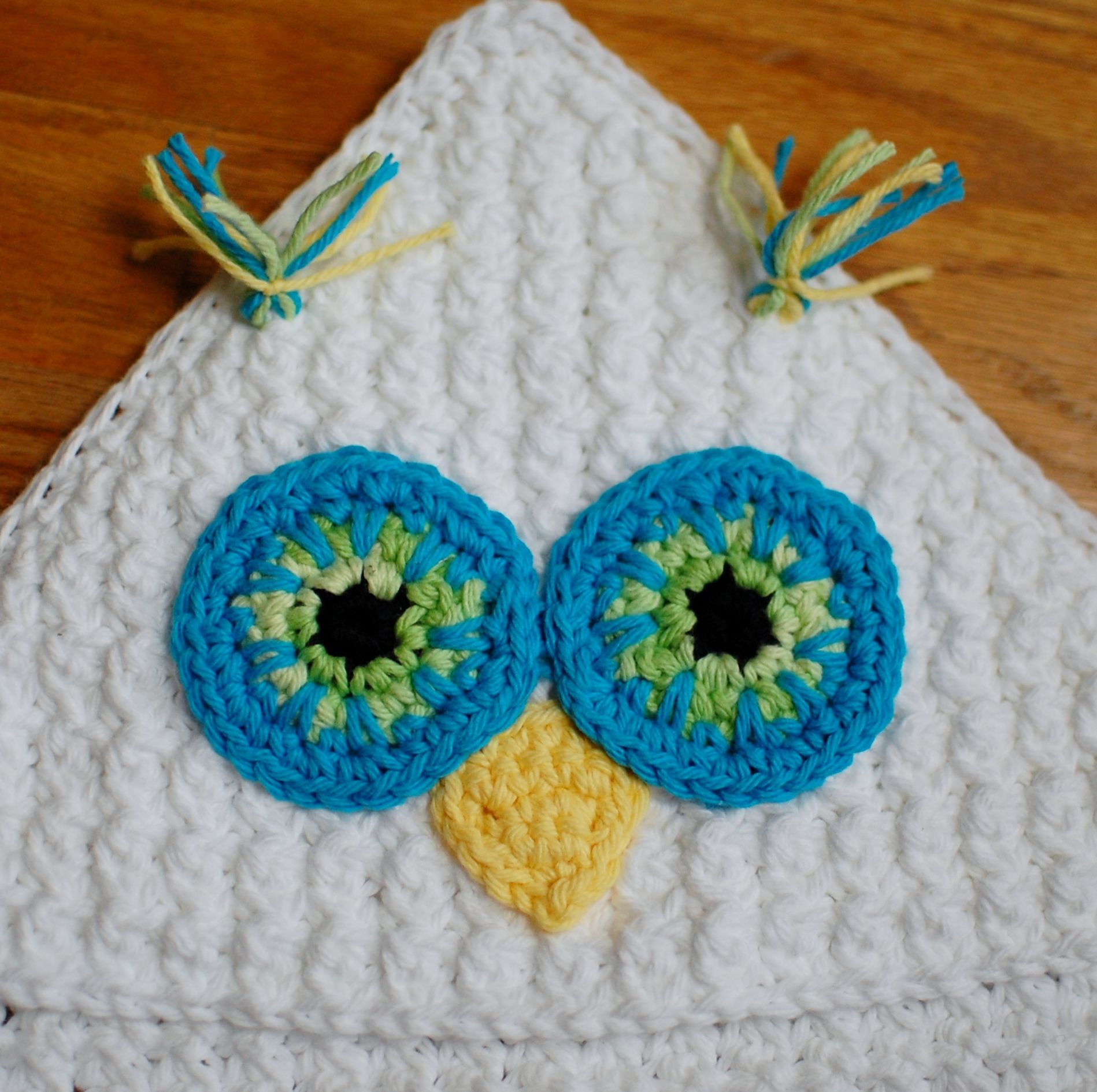 Crochet Pattern Owl Hooded Baby Towel Also Makes A Great Hooded