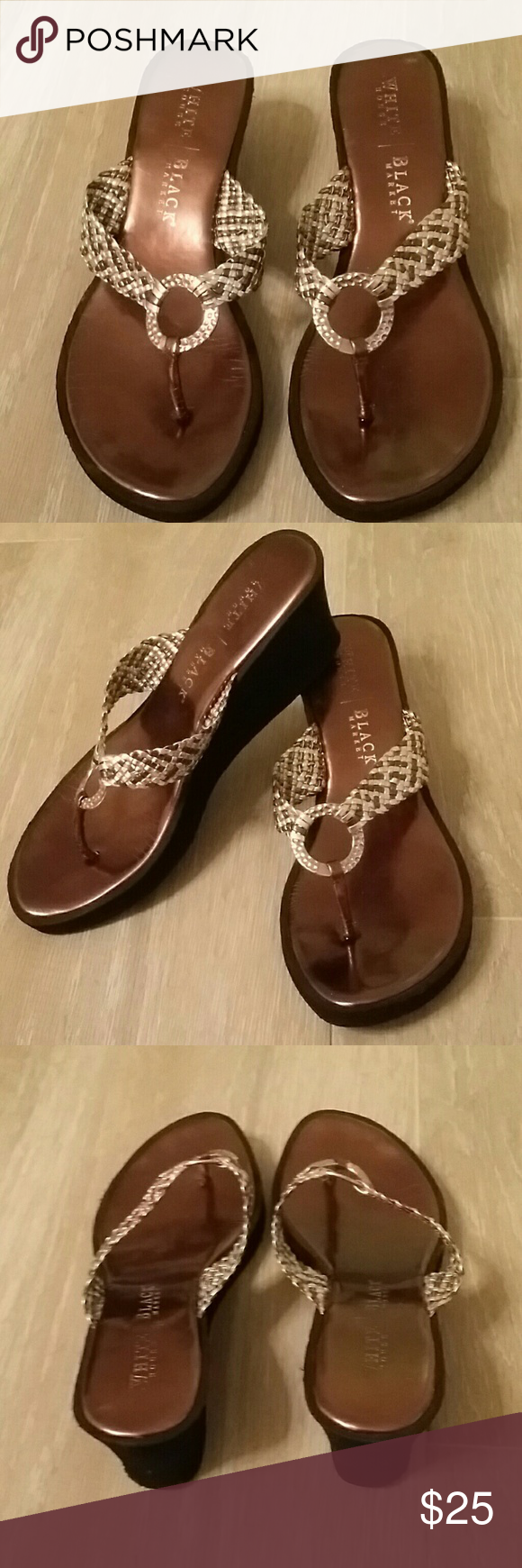 White House Black Market Sandals Very cute WHBM Sandals in Bronze, Silver and Gold. Could be dressed up or dressed down perfect for Spring and Summer!  Size 8 White House Black Market Shoes Sandals