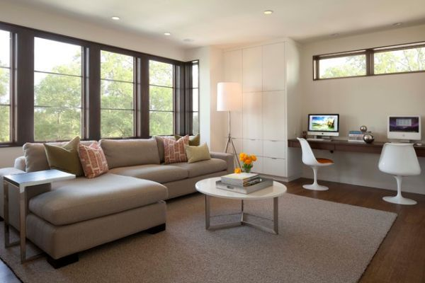 10 Sleek Stylish And Space Saving Floating Desks Desk In Living Room Contemporary Family Room Family Room