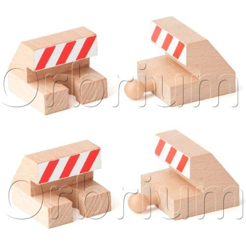 Orbrium Toys Track End Bumper Buffer Stop Set Wooden Railway Fits ...