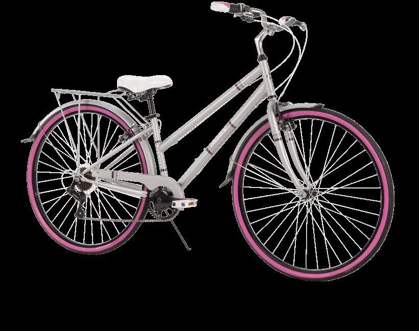 Womens Cruiser Bike 7 Speed Lightweight Steel Frame Padded Seat Bicycle Gray #Huffy