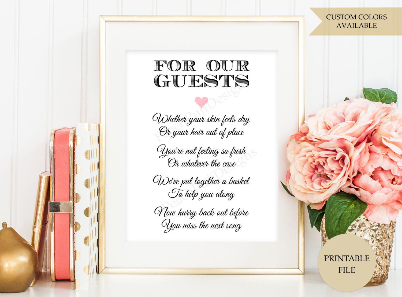 Wedding Bathroom Basket Sign PRINTABLE FILE By PeachPuffDesigns