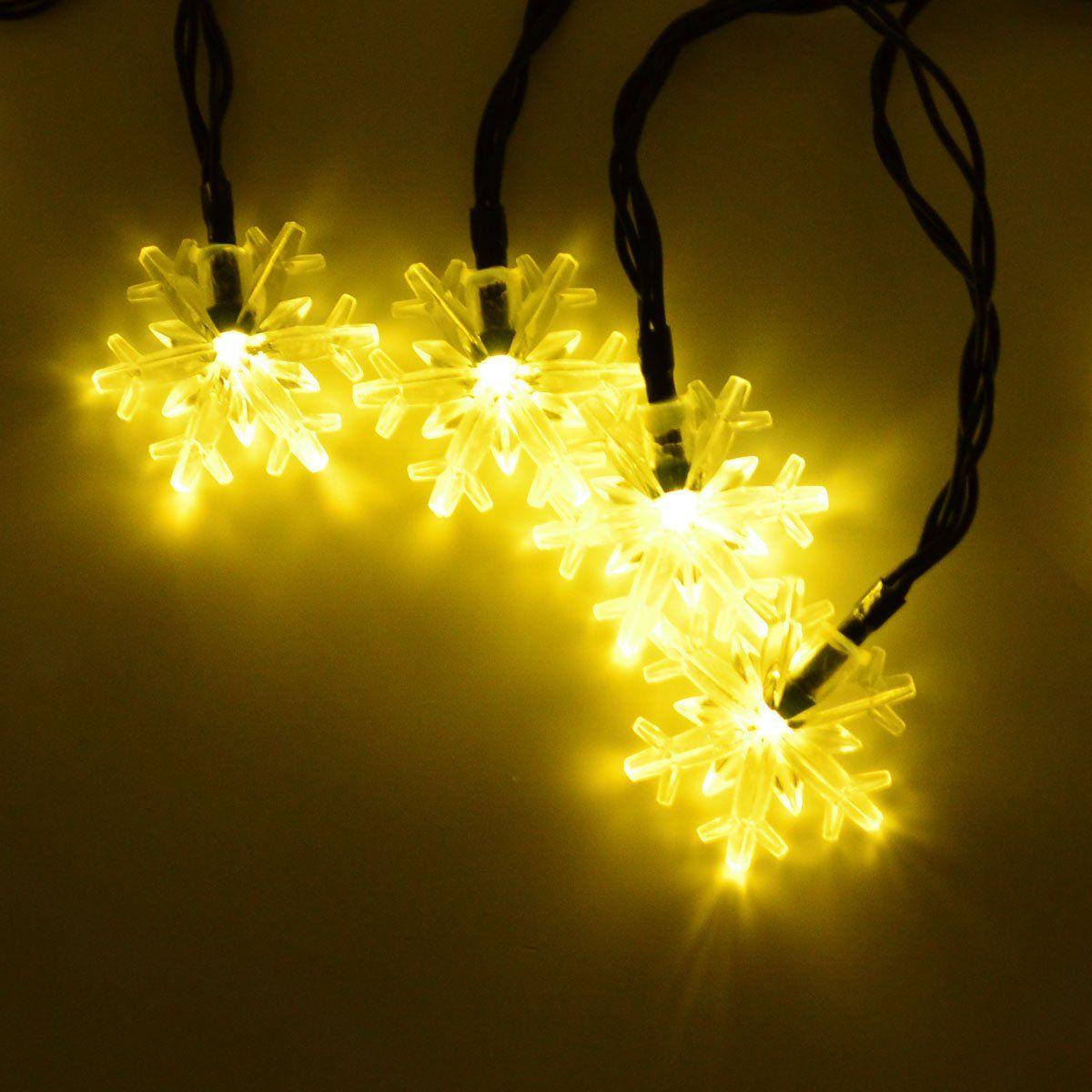 Warm White Snowflake 15.7 Feet 20 LED Lights Solar Indoor & Outdoor ...