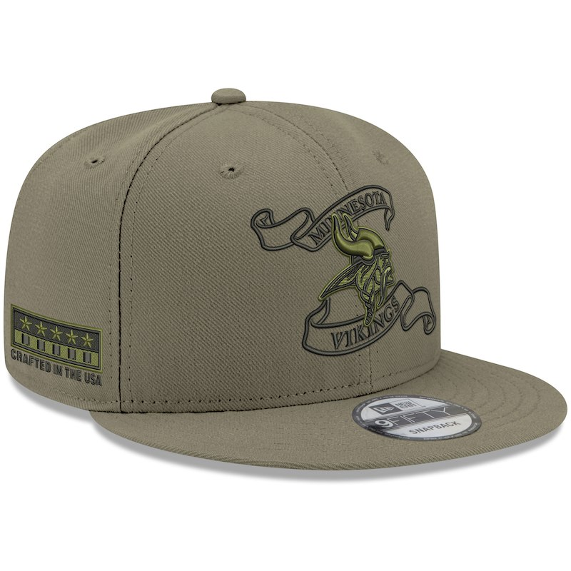 pretty nice 41014 30e40 Minnesota Vikings New Era Crafted in the USA 9FIFTY Adjustable Hat – Olive