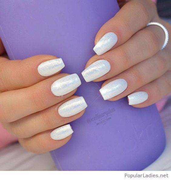 Wonderful White Glitter Gel Nails Simple But Awesome