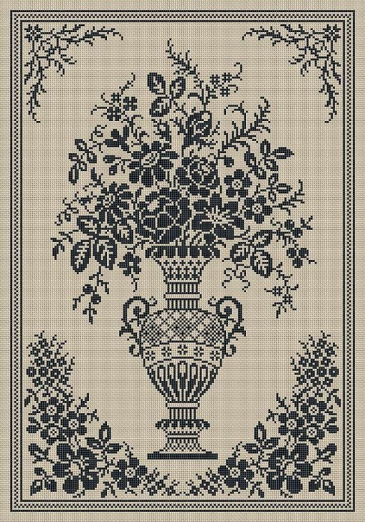 Monochrome Vintage Floral Vase Counted Cross Stitch Pattern PDF ...