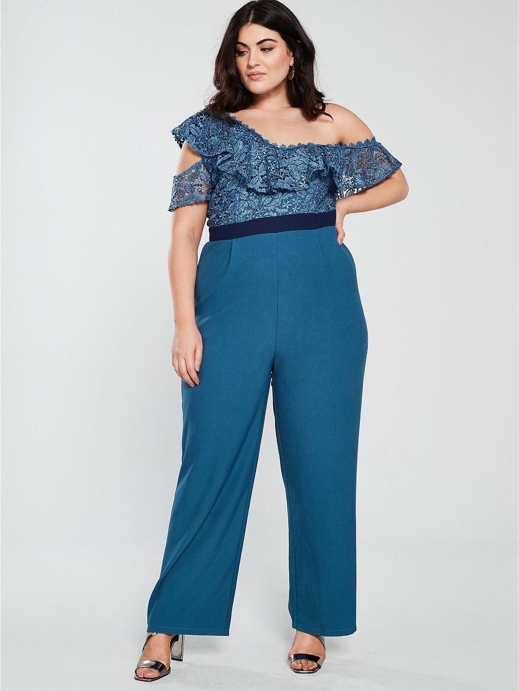 8fb8df8b20 Little Mistress Curve One Shoulder Crochet Jumpsuit - Blue, https://www.