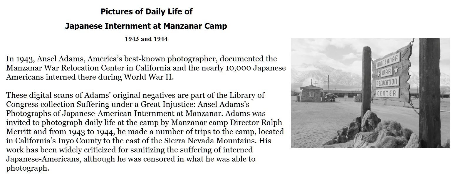 pictures of daily life of japanese internment at manzanar camp 1943 and 1944 history. Black Bedroom Furniture Sets. Home Design Ideas