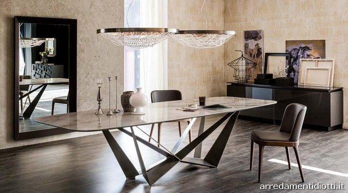 Tavolo Skorpio Keramik con piano in marmo Alabastro ...