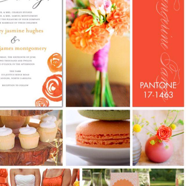 Tangerine Tango. Pantone color trend 2012. Like the tree/cupcake display