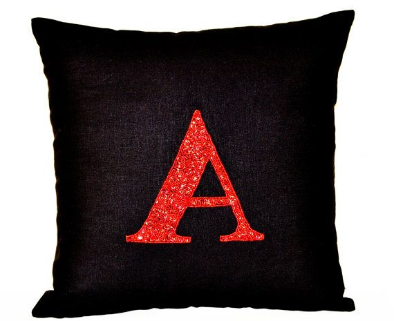 Beaded Red Monogram Decorative Pillow Monogrammed By AmoreBeaute Enchanting Monogrammed Decorative Pillows