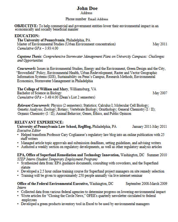 University Student Resume for graduate school, Student