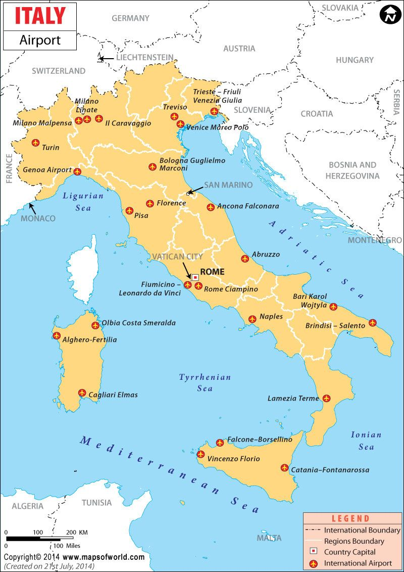 Italy Airports Map Italy Trieste Northern Italy