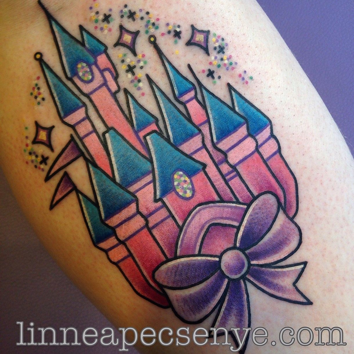 Disney tattoos and tattoo designs - Absolutely Love The Colors Sparkles Of This Princess Castle Tattoos By Linnea Pecsenye Disney Castle Tattooprincess
