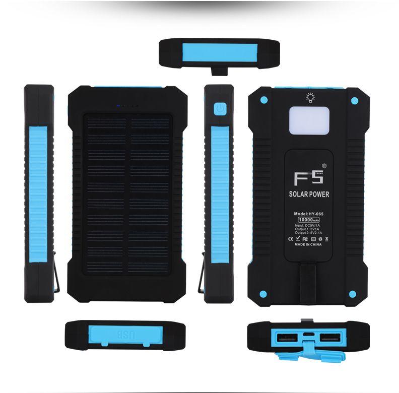 Mini Solar Power Banks Cell Phone 10000mah Fast Charge Portable Solar Charger Led Light Solar Power Bank Solar Power Solar